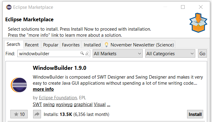 How to install WindowBuilder – RCP Vision