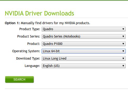 NVIDIA Driver selection